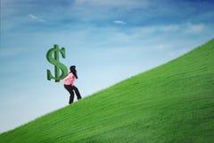 Symbool van de vrouwen het dragende dollar op heuvel Royalty-vrije Stock Afbeeldingen