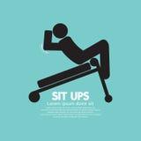 Symbool van een Mens Sit Ups Training On Equipment Stock Fotografie