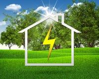 Symbool van elektriciteit en huis Stock Foto