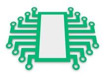Symbool van elektronische microchip Stock Foto