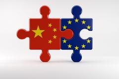 Symbool van goede relaties tussen China en de EU royalty-vrije illustratie