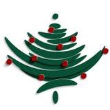 Symbool van Groene die Spar met ballen wordt verfraaid vector illustratie