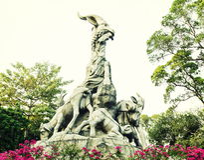 Symbool van Guangzhou-stad, oriëntatiepunt van Guangzhou, vijf geitenstandbeeld Royalty-vrije Stock Foto
