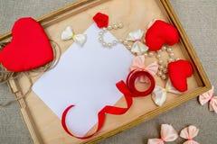 Symbool van het de dag het rode hart van Valentine ` s, romantische achtergrond, ontwerper Royalty-vrije Stock Foto's