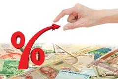 Symbool van het de trekkracht het rode percentage van de hand Stock Afbeeldingen