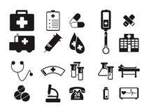 Symbool van het het Hulpmiddel het Zwarte Pictogram van artsenmedical hospital equipment stock illustratie