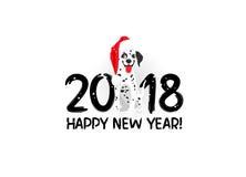 Symbool van het jaar 2018 dalmatisch royalty-vrije illustratie