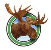 Symbool van het Pictogram van de Geweitakken van Amerikaanse elanden het Hoofd Bos stock afbeeldingen