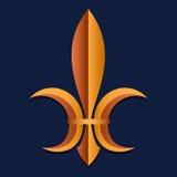 Symbool van koninklijke macht in middeleeuws Frankrijk stylization wapenkunde Achtergrond voor een uitnodigingskaart of een geluk Stock Fotografie