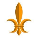 Symbool van koninklijke macht in middeleeuws Frankrijk stylization wapenkunde Witte achtergrond Vector illustratie Stock Foto