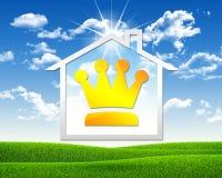Symbool van kroon en huis Royalty-vrije Stock Afbeelding