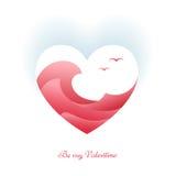 Symbool van liefde op blauwe achtergrond, groetkaart Gelukkige valentijnskaartendag royalty-vrije illustratie