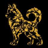 Symbool van nieuw jaar 2018 De leuke hond met glanzend schittert textuur Getrokken hand het van letters voorzien Nieuw jaar De va stock illustratie