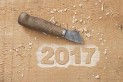 Symbool van nummer 2017 op houten textuur Stock Afbeelding
