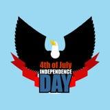 Symbool van Onafhankelijkheidsdag van de vliegende adelaar van Amerika Vogelroofdier Royalty-vrije Stock Fotografie