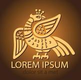 Symbool van Onsterfelijkheid Legendarische Vogel Archaïsch Vogel Embleemmalplaatje Stock Foto's