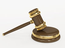 Symbool van rechtvaardigheid - gerechtelijke 3d hamer Royalty-vrije Stock Foto's