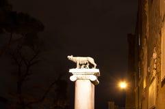 Symbool van Rome: zij-wolf het de borst geven romulus en, remus Stock Fotografie