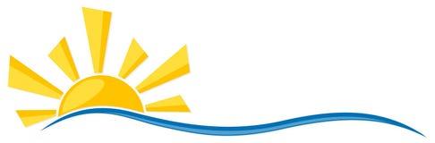 Symbool van zon met golf vector illustratie