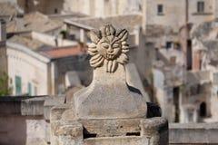 Symbool van zon op dak in Matera, Italië Stock Foto's