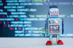 Symbool voor een chatbot of sociale bot en algoritmen, programmacode op de achtergrond royalty-vrije stock afbeeldingen