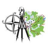 Symbool voor geodesie en cartografie stock illustratie