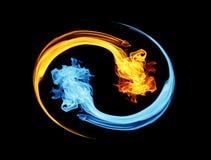 Symbool yin-Yang, ijs en brand Royalty-vrije Stock Foto