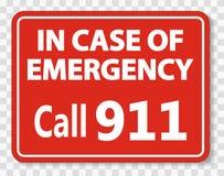 symboolvraag 911 Teken op transparante achtergrond stock illustratie