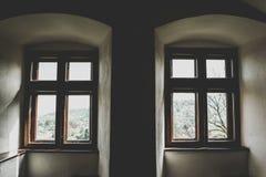 Symetryczni łękowaci okno antyczny gothic budynek obraz stock