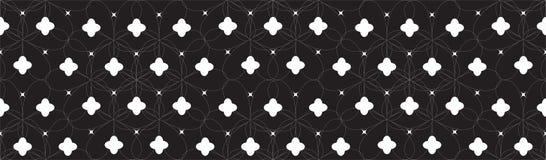 Symetryczny Bezszwowy Geometryczny wzór z Białymi abstraktów kwiatami i Czarnym tłem Obraz Stock