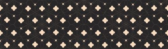 Symetryczny Bezszwowy wzór z Białymi liniami i abstraktów kształtami na Czarnym tle Zdjęcie Royalty Free