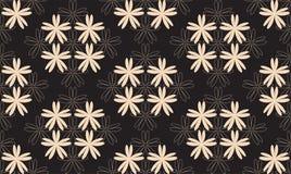 Symetryczny Bezszwowy wzór z Białymi kwiatami na Czarnym tle Fotografia Stock