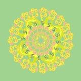 Symetryczny kurenda wzór na zieleni postać z kreskówki śmieszny ilustratora ołówek pisze setu wektor Zdjęcia Stock