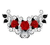 Symetryczny tatuaż czerwone róże ilustracja wektor