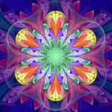 Symetryczny wzór w witrażu okno stylu Błękit, purpury, ilustracji