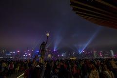 Symfoni av ljusmultimediashowen arkivfoto