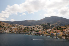 Symi and bay in Aegean Sea, Greece Stock Image