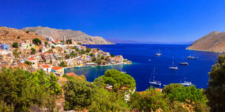 Symi - beautiful colorful island of Greece, Dodecanesse Stock Photos
