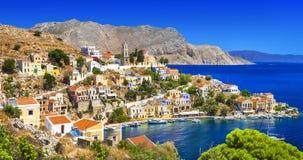 Symi - beautiful Greek island. Dodecanese. Pictorial islands of Greece- Symi, Dodecanese stock image