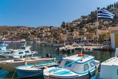 Symi, Grécia, em setembro de 2017 - ilha bonita de Symi Foto de Stock