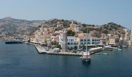 Symi greek island harbor Greece Royalty Free Stock Image