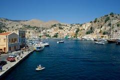 Symi harbour royalty free stock photo