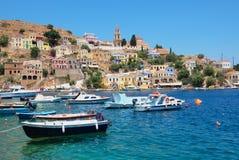 Symi Harbour. Greece Stock Photos
