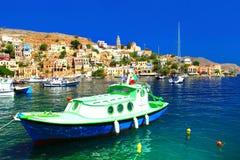 Symi - ilha colorida bonita de Grécia, Dodecanesse Fotografia de Stock