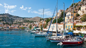 Symi Island. In greece architecture harbor village Royalty Free Stock Image