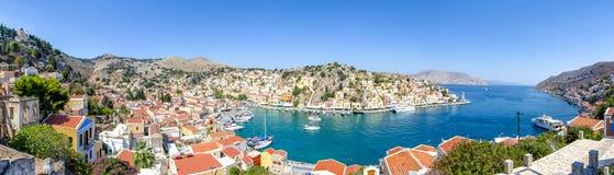 Symi town cityscape, Dodecanese islands, Greece royalty free stock photos