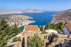 Symi town cityscape, Dodecanese islands, Greece royalty free stock photo