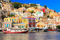 Symi Town Greece. Boats in harbour at Symi Island in the Dodecanese Greece Europe