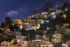 Symi town view at night , Greece Royalty Free Stock Photo