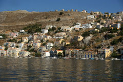 Symi village on island of Symi near island of Rhodes (Greece) Stock Image